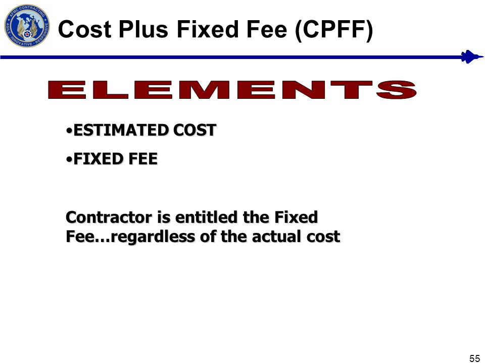 55 Cost Plus Fixed Fee (CPFF) ESTIMATED COSTESTIMATED COST FIXED FEEFIXED FEE Contractor is entitled the Fixed Fee…regardless of the actual cost