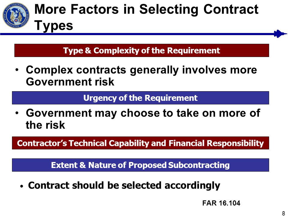 8 More Factors in Selecting Contract Types Contractors Technical Capability and Financial Responsibility FAR 16.104 Type & Complexity of the Requireme