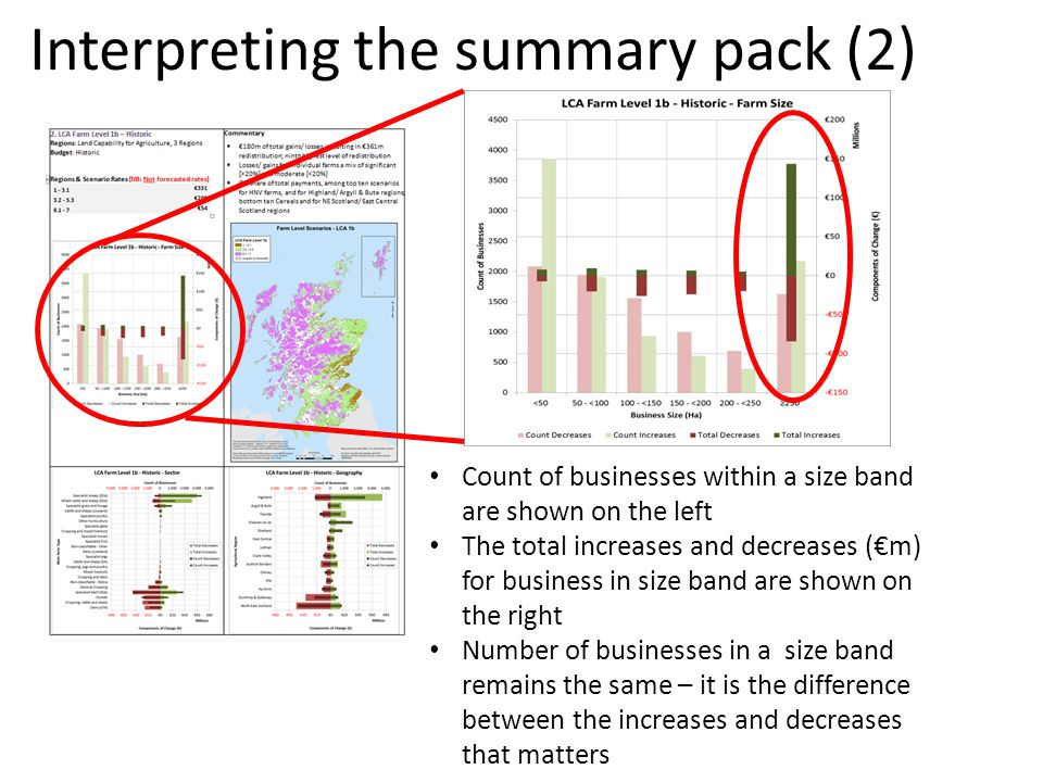 Interpreting the summary pack (2) Count of businesses within a size band are shown on the left The total increases and decreases (m) for business in size band are shown on the right Number of businesses in a size band remains the same – it is the difference between the increases and decreases that matters
