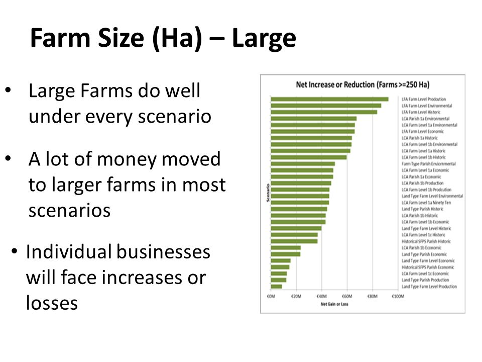 Farm Size (Ha) – Large Large Farms do well under every scenario A lot of money moved to larger farms in most scenarios Individual businesses will face increases or losses