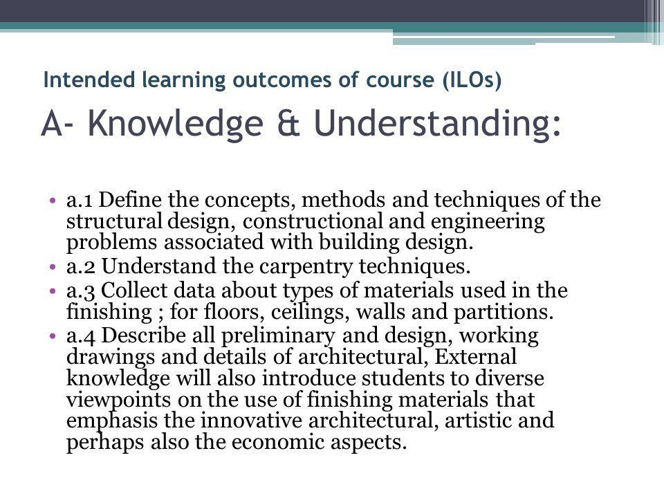 A- Knowledge & Understanding: a.1 Define the concepts, methods and techniques of the structural design, constructional and engineering problems associ