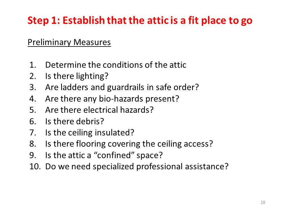 Step 1: Establish that the attic is a fit place to go Preliminary Measures 1.Determine the conditions of the attic 2.Is there lighting.