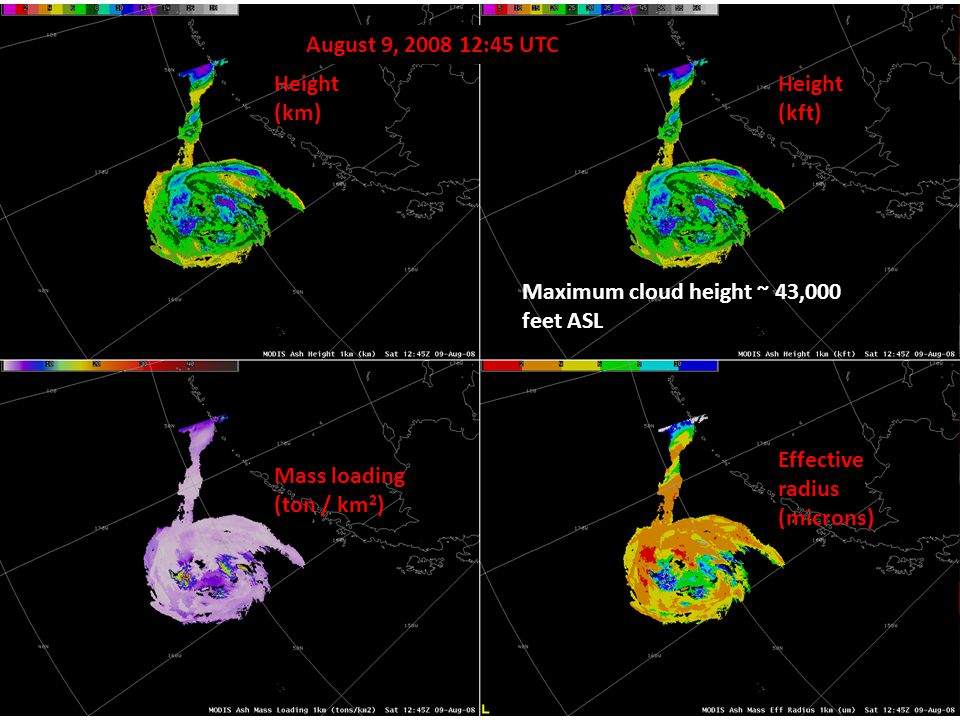 Examples - Kasatochi 4 Height (km) Height (kft) Effective radius (microns) Mass loading (ton / km 2 ) August 9, 2008 12:45 UTC Maximum cloud height ~ 43,000 feet ASL