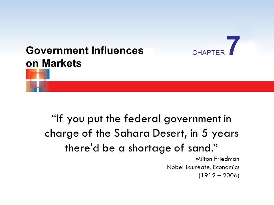 Government Influences on Markets CHAPTER 7 If you put the federal government in charge of the Sahara Desert, in 5 years there'd be a shortage of sand.