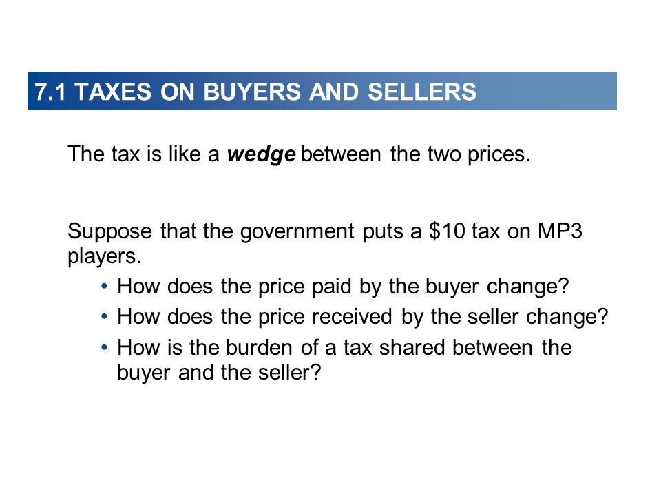 7.1 TAXES ON BUYERS AND SELLERS The tax is like a wedge between the two prices. Suppose that the government puts a $10 tax on MP3 players. How does th