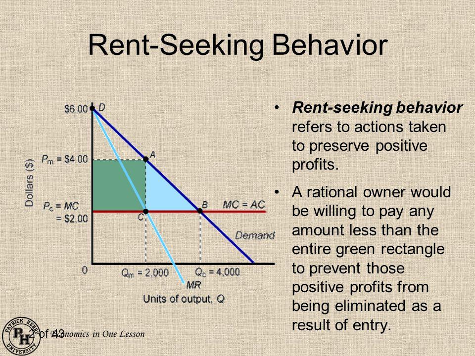 2 of 43 Rent-Seeking Behavior Rent-seeking behavior refers to actions taken to preserve positive profits. A rational owner would be willing to pay any