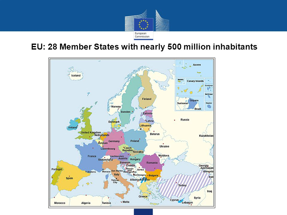 EU: 28 Member States with nearly 500 million inhabitants