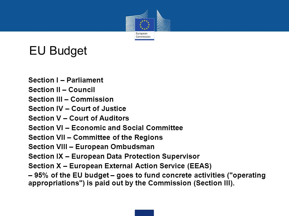 EU Budget Section I – Parliament Section II – Council Section III – Commission Section IV – Court of Justice Section V – Court of Auditors Section VI