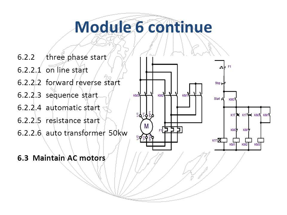 Module 6 continue 6.2.2three phase start 6.2.2.1 on line start 6.2.2.2 forward reverse start 6.2.2.3 sequence start 6.2.2.4 automatic start 6.2.2.5 re