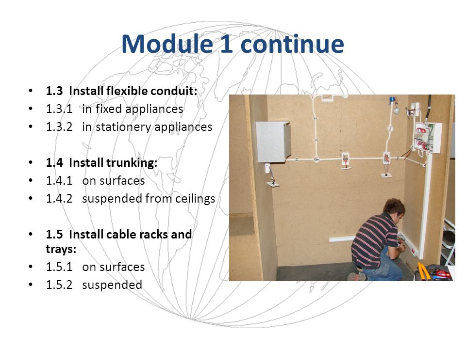 Core Module 2: Installing Cables 2.1 Install flexible cord: 2.1.1 select cable 2.1.2 terminate socket outlet 2.1.3terminate appliance 2.1.4join cable 2.1.5testing cable 2.2 Install flexible cable: 2.2.1select cable 2.2.2terminate socket outlet 2.2.3terminate appliance 2.2.4joining cable 2.2.5testing cable