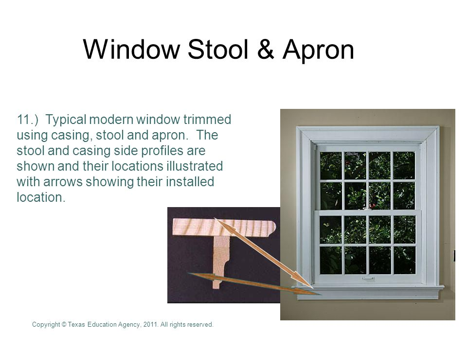 Window Stool & Apron 11.) Typical modern window trimmed using casing, stool and apron.