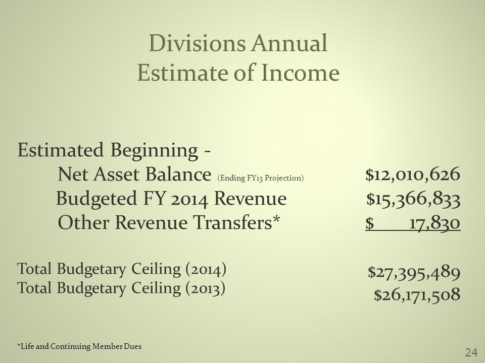 Divisions Annual Estimate of Income Estimated Beginning - Net Asset Balance (Ending FY13 Projection) Budgeted FY 2014 Revenue Other Revenue Transfers* Total Budgetary Ceiling (2014) Total Budgetary Ceiling (2013) $12,010,626 $15,366,833 $ 17,830 $27,395,489 $26,171,508 *Life and Continuing Member Dues 24