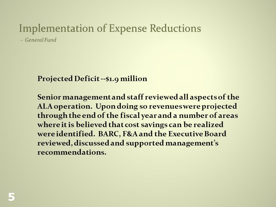 Projected Deficit --$1.9 million Senior management and staff reviewed all aspects of the ALA operation.