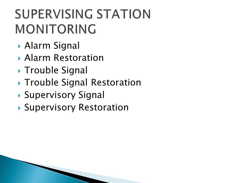 Alarm Signal Alarm Restoration Trouble Signal Trouble Signal Restoration Supervisory Signal Supervisory Restoration
