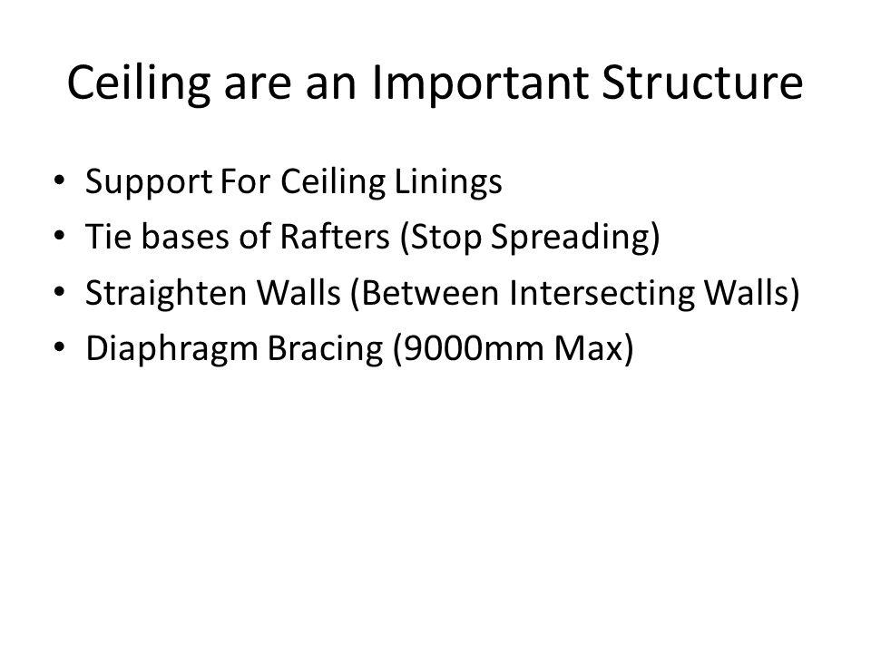 Ceiling are an Important Structure Support For Ceiling Linings Tie bases of Rafters (Stop Spreading) Straighten Walls (Between Intersecting Walls) Dia