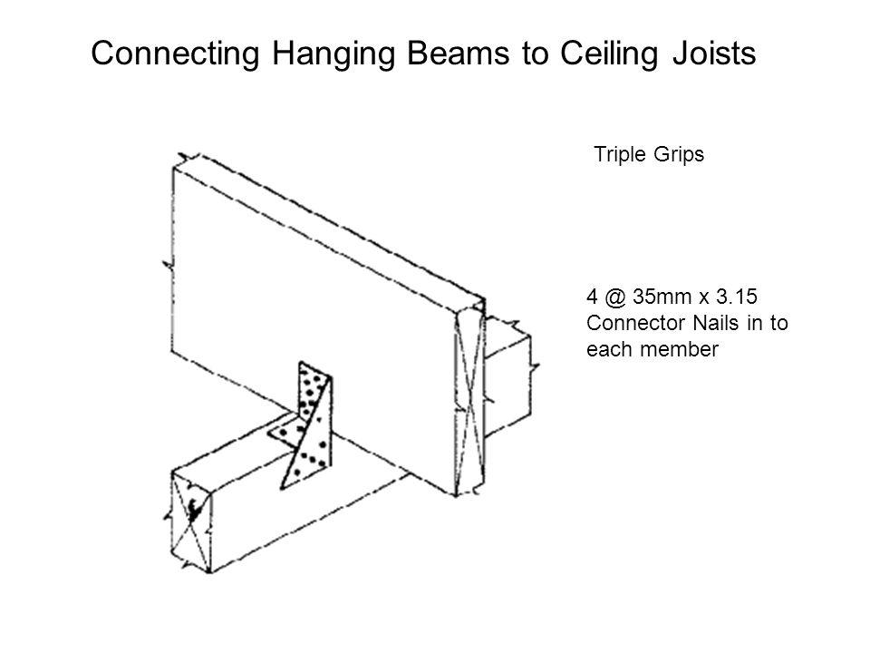 Connecting Hanging Beams to Ceiling Joists Triple Grips 4 @ 35mm x 3.15 Connector Nails in to each member