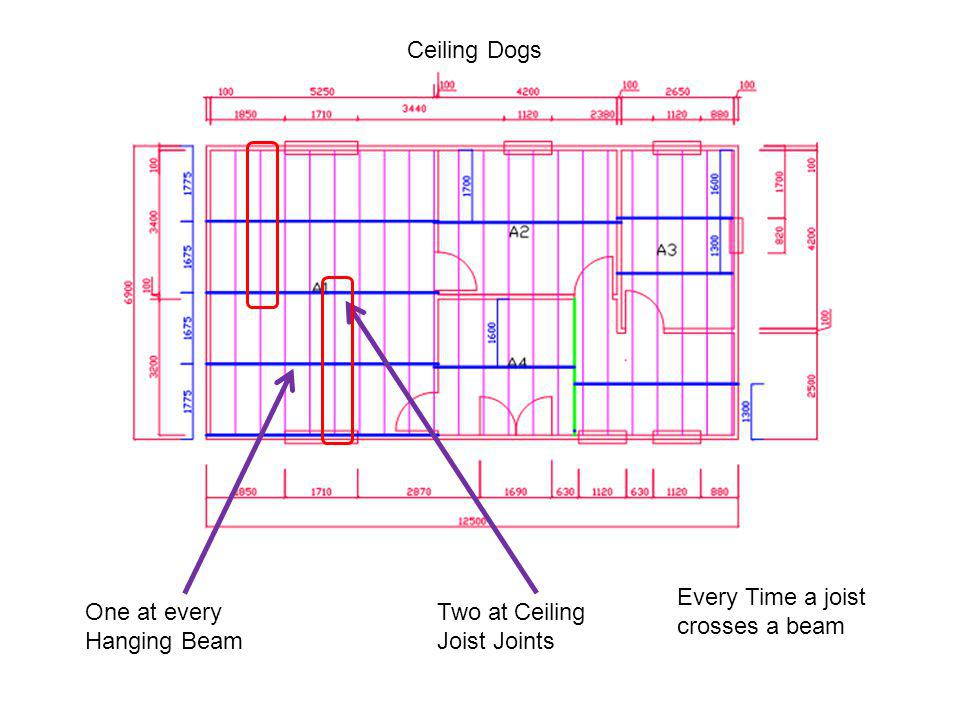 Ceiling Dogs One at every Hanging Beam Two at Ceiling Joist Joints Every Time a joist crosses a beam