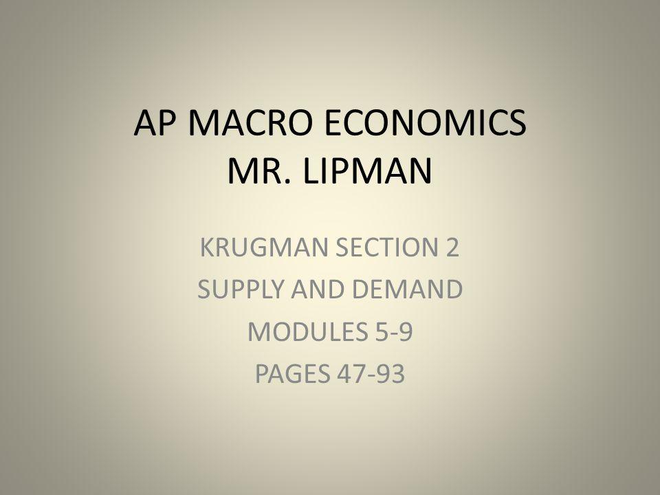 AP MACRO ECONOMICS MR. LIPMAN KRUGMAN SECTION 2 SUPPLY AND DEMAND MODULES 5-9 PAGES 47-93