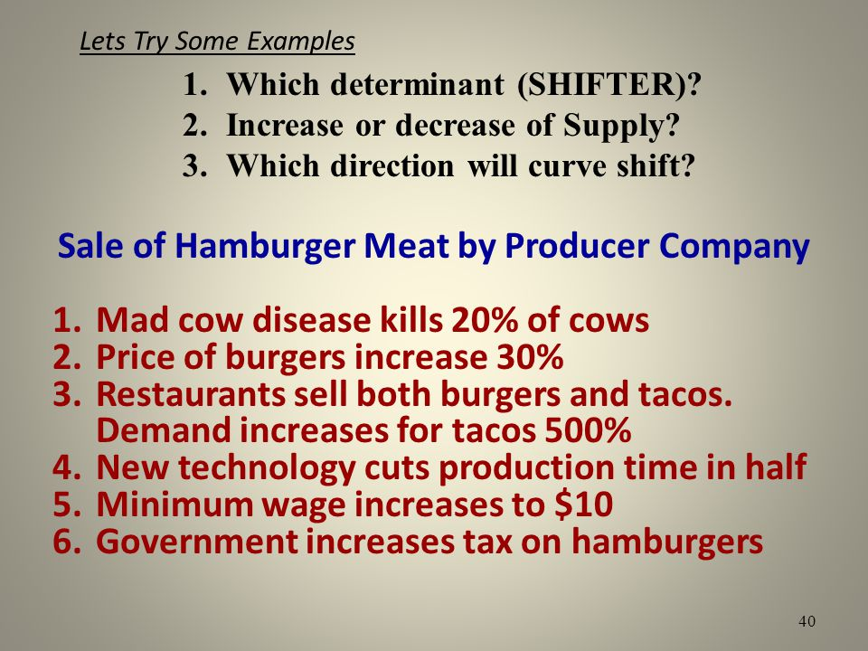 Lets Try Some Examples Sale of Hamburger Meat by Producer Company 1.Mad cow disease kills 20% of cows 2.Price of burgers increase 30% 3.Restaurants se