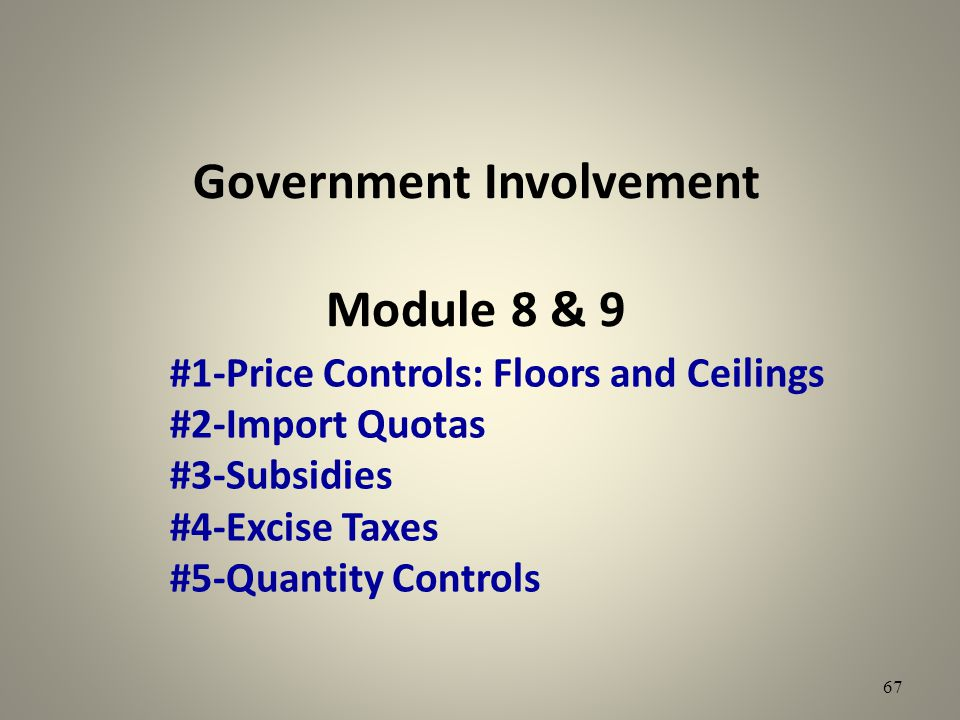 Government Involvement Module 8 & 9 #1-Price Controls: Floors and Ceilings #2-Import Quotas #3-Subsidies #4-Excise Taxes #5-Quantity Controls 67