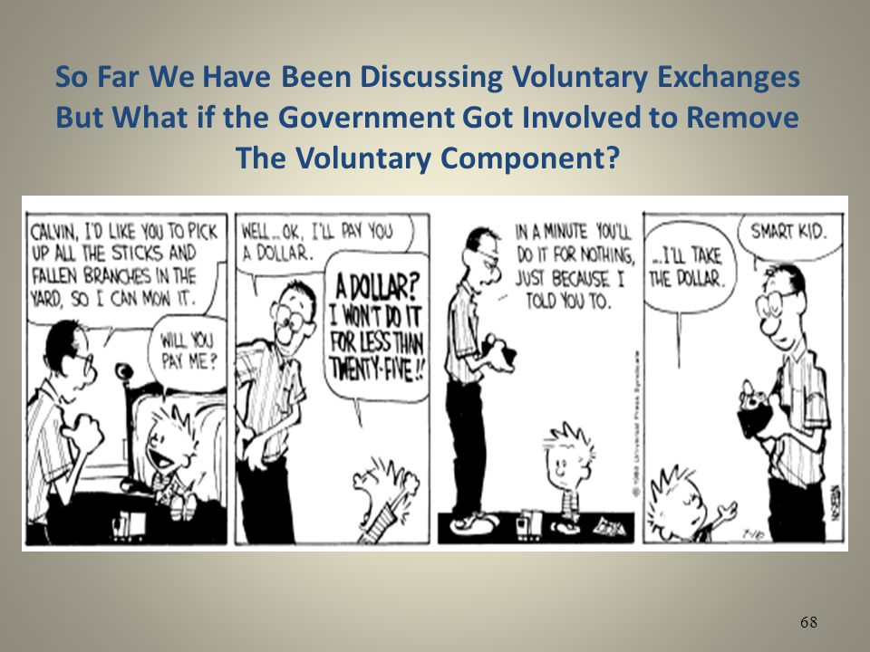 So Far We Have Been Discussing Voluntary Exchanges But What if the Government Got Involved to Remove The Voluntary Component? 68