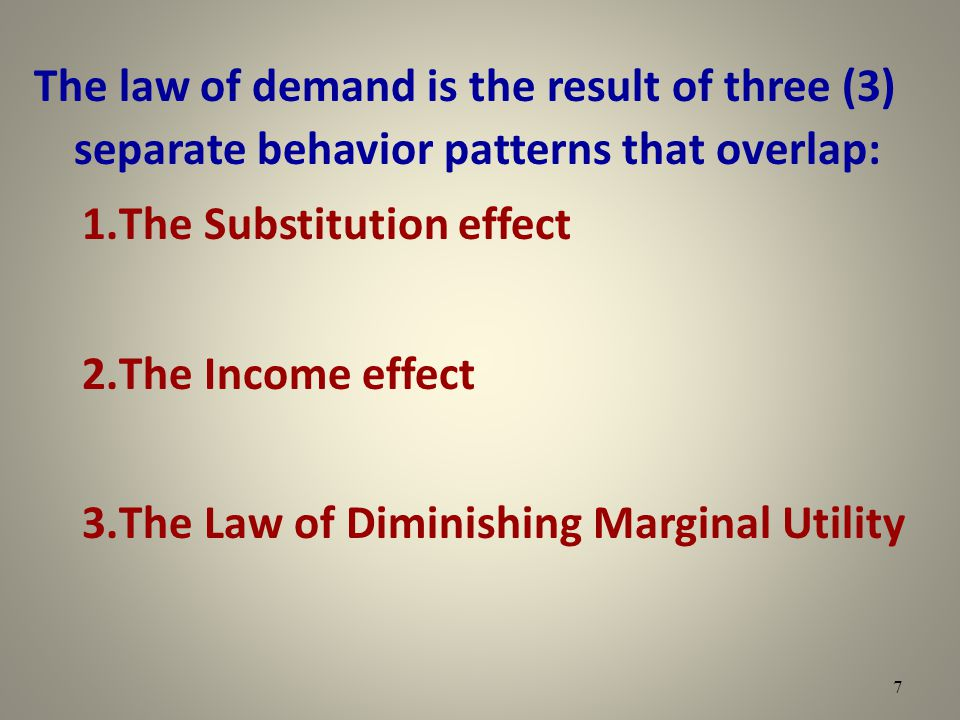The law of demand is the result of three (3) separate behavior patterns that overlap: 1.The Substitution effect 2.The Income effect 3.The Law of Dimin