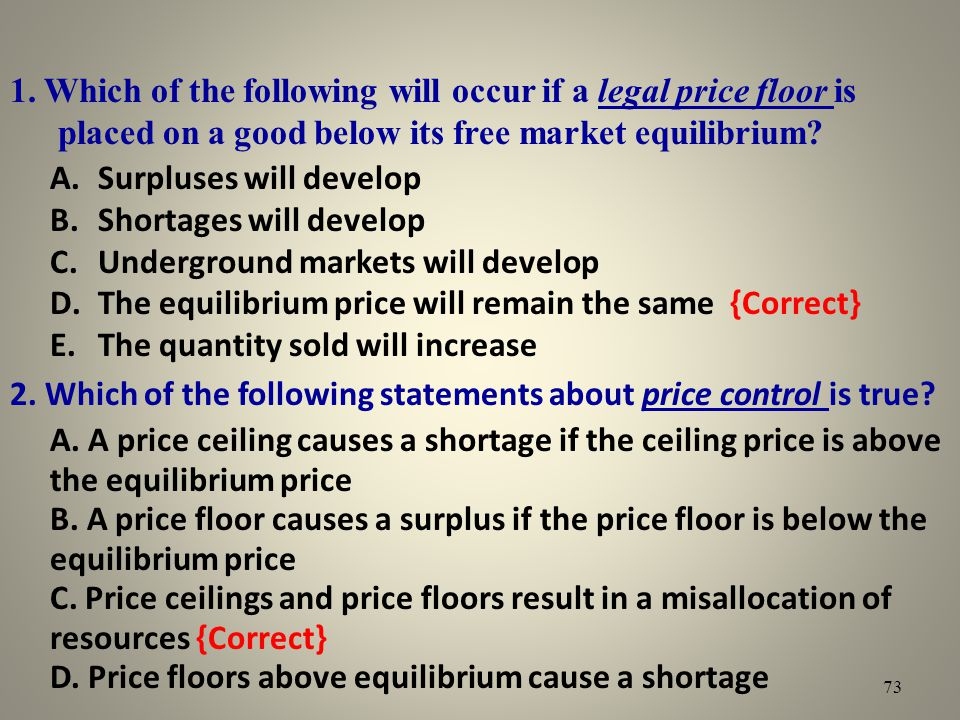 1. Which of the following will occur if a legal price floor is placed on a good below its free market equilibrium? A.Surpluses will develop B.Shortage