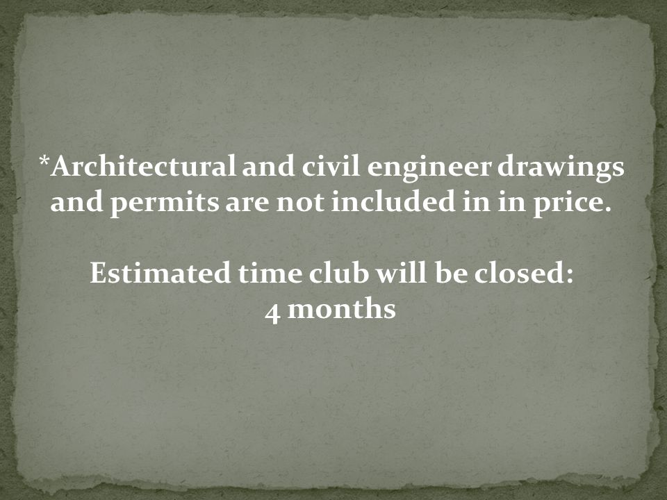 *Architectural and civil engineer drawings and permits are not included in in price.