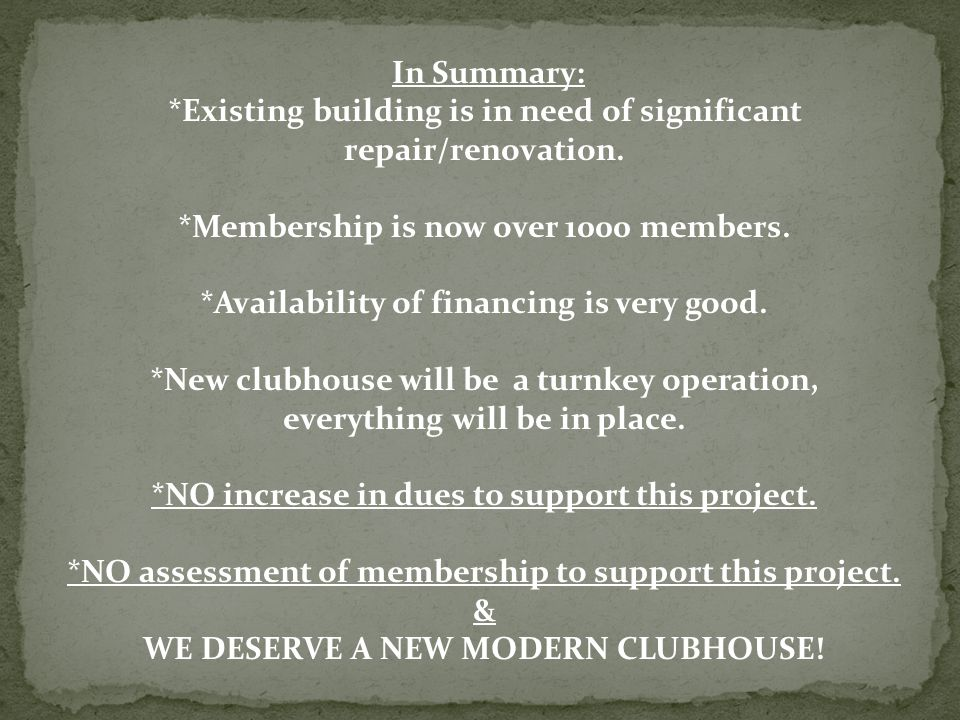 In Summary: *Existing building is in need of significant repair/renovation.
