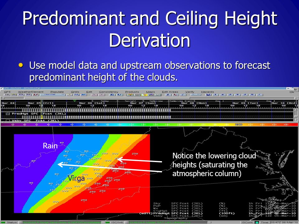 Predominant and Ceiling Height Derivation Use model data and upstream observations to forecast predominant height of the clouds.