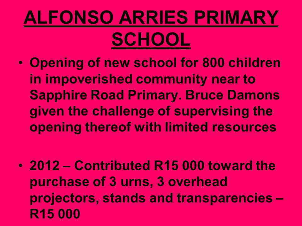 ALFONSO ARRIES PRIMARY SCHOOL Opening of new school for 800 children in impoverished community near to Sapphire Road Primary.