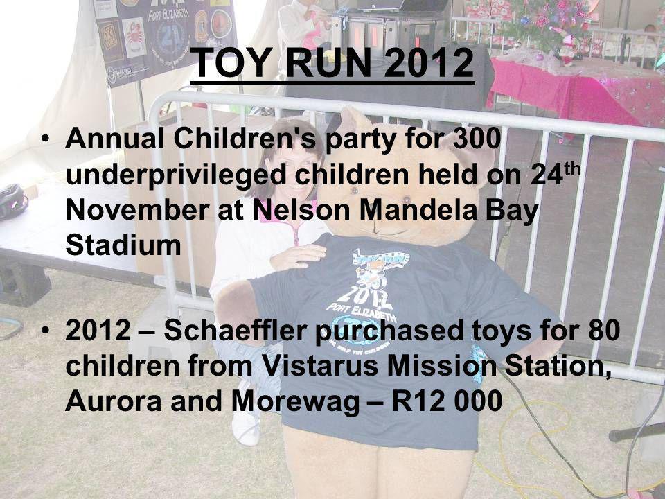TOY RUN 2012 Annual Children s party for 300 underprivileged children held on 24 th November at Nelson Mandela Bay Stadium 2012 – Schaeffler purchased toys for 80 children from Vistarus Mission Station, Aurora and Morewag – R12 000