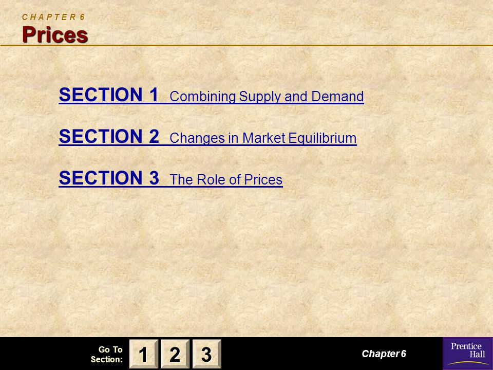 123 Go To Section: Chapter 6, Section 1 Combining Supply and Demand S E C T I O N 1 Combining Supply and Demand How do supply and demand create balance in the marketplace.