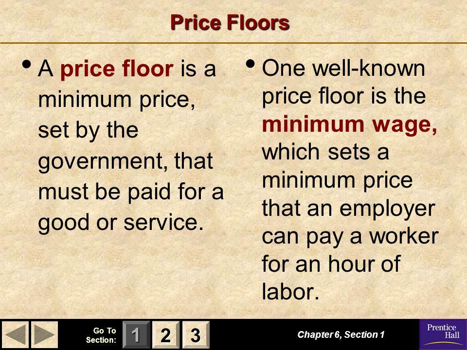 123 Go To Section: Price Floors A price floor is a minimum price, set by the government, that must be paid for a good or service.