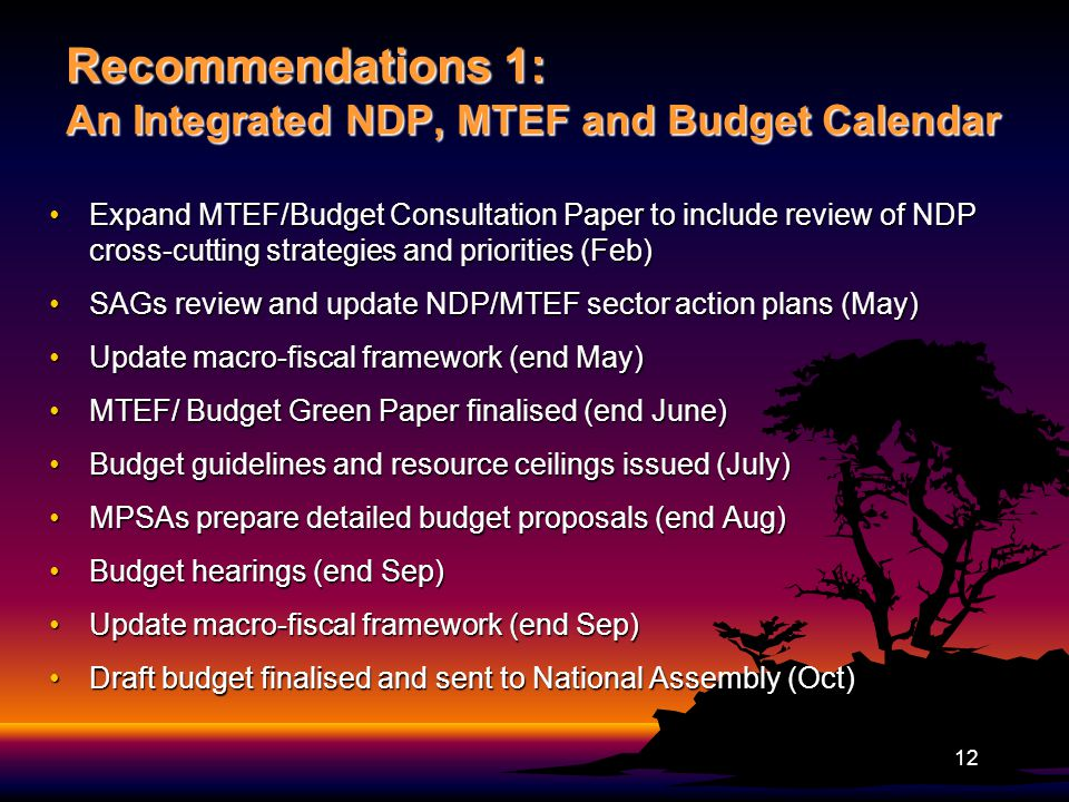 Recommendations 1: An Integrated NDP, MTEF and Budget Calendar Expand MTEF/Budget Consultation Paper to include review of NDP cross-cutting strategies and priorities (Feb)Expand MTEF/Budget Consultation Paper to include review of NDP cross-cutting strategies and priorities (Feb) SAGs review and update NDP/MTEF sector action plans (May)SAGs review and update NDP/MTEF sector action plans (May) Update macro-fiscal framework (end May)Update macro-fiscal framework (end May) MTEF/ Budget Green Paper finalised (end June)MTEF/ Budget Green Paper finalised (end June) Budget guidelines and resource ceilings issued (July)Budget guidelines and resource ceilings issued (July) MPSAs prepare detailed budget proposals (end Aug)MPSAs prepare detailed budget proposals (end Aug) Budget hearings (end Sep)Budget hearings (end Sep) Update macro-fiscal framework (end Sep)Update macro-fiscal framework (end Sep) Draft budget finalised and sent to National Assembly (Oct)Draft budget finalised and sent to National Assembly (Oct) 12