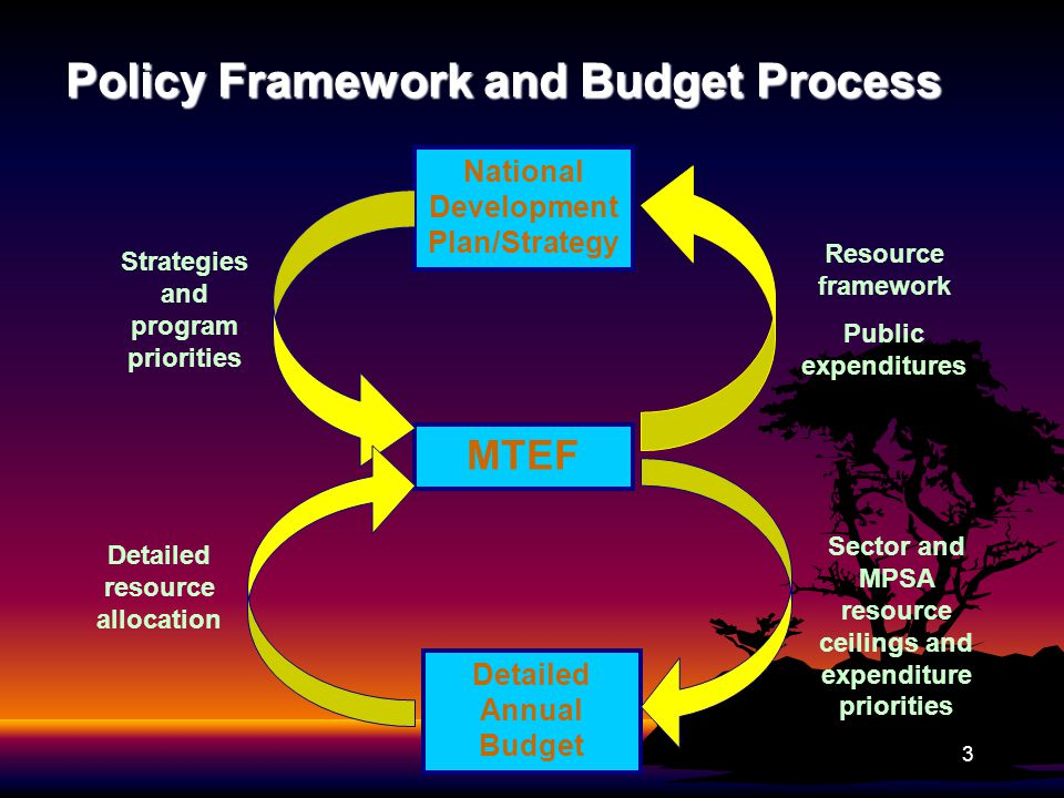 Policy Framework and Budget Process 3 National Development Plan/Strategy Detailed Annual Budget MTEF Resource framework Public expenditures Strategies and program priorities Sector and MPSA resource ceilings and expenditure priorities Detailed resource allocation
