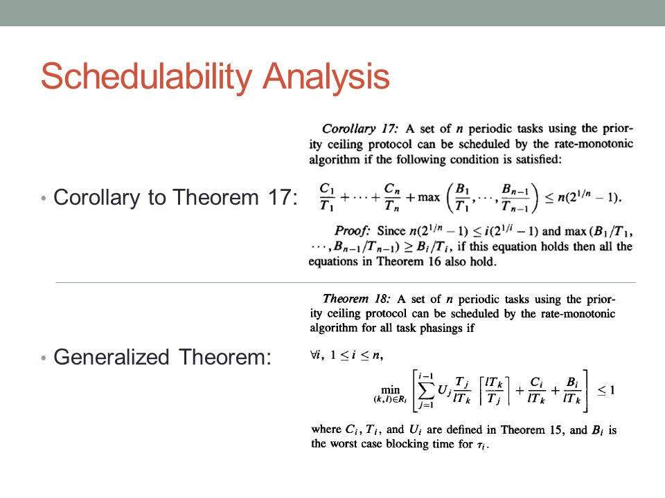 Schedulability Analysis Corollary to Theorem 17: Generalized Theorem: