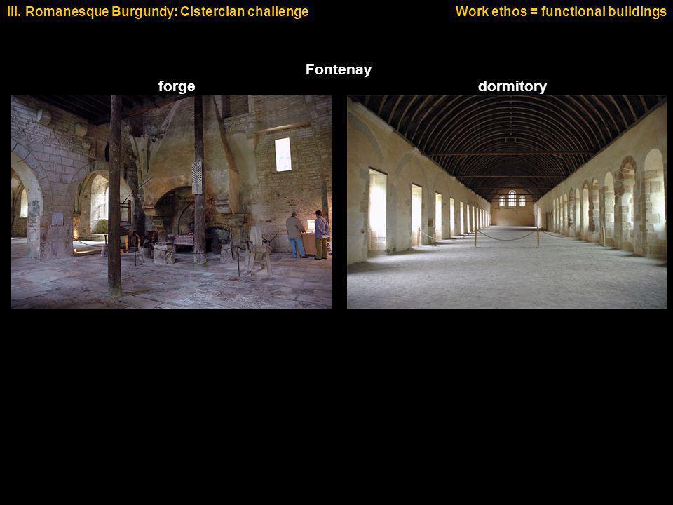 dormitoryforge Fontenay III. Romanesque Burgundy: Cistercian challengeWork ethos = functional buildings