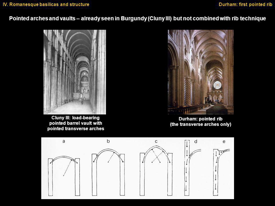 IV. Romanesque basilicas and structure Pointed arches and vaults – already seen in Burgundy (Cluny III) but not combined with rib technique Durham: fi