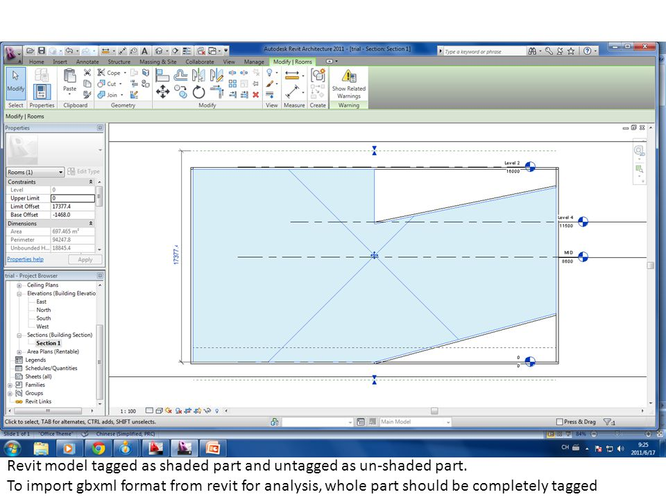Revit model tagged as shaded part and untagged as un-shaded part.