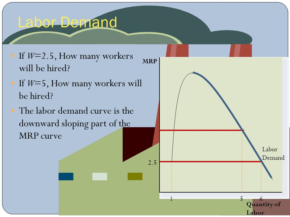 Labor Demand Quantity of Labor MRP If W=2.5, How many workers will be hired? If W=5, How many workers will be hired? The labor demand curve is the dow