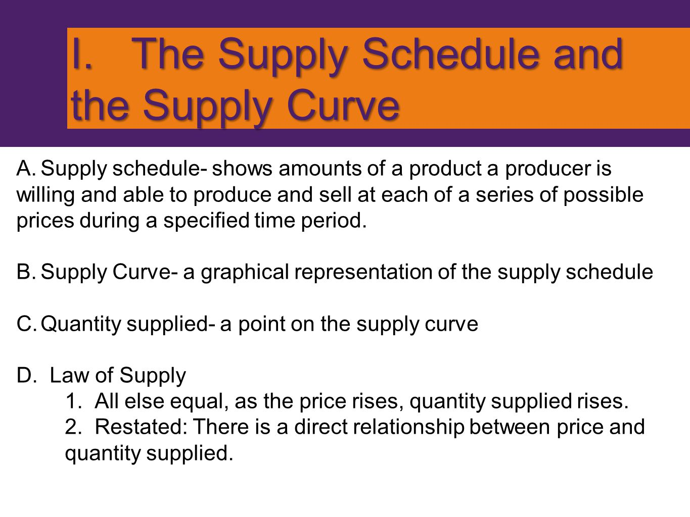 Supply Schedule and Supply Curve PriceQuantity $ 822 $ 714 $ 68 $ 56 $ 45 $ 34 $ 23 Quantity Price