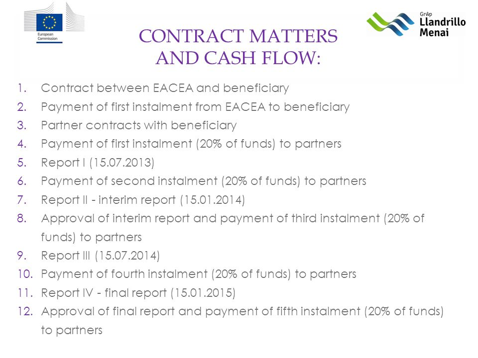 CONTRACT MATTERS AND CASH FLOW: 1.Contract between EACEA and beneficiary 2.Payment of first instalment from EACEA to beneficiary 3.Partner contracts with beneficiary 4.Payment of first instalment (20% of funds) to partners 5.Report I ( ) 6.Payment of second instalment (20% of funds) to partners 7.Report II - interim report ( ) 8.Approval of interim report and payment of third instalment (20% of funds) to partners 9.Report III ( ) 10.Payment of fourth instalment (20% of funds) to partners 11.Report IV - final report ( ) 12.Approval of final report and payment of fifth instalment (20% of funds) to partners
