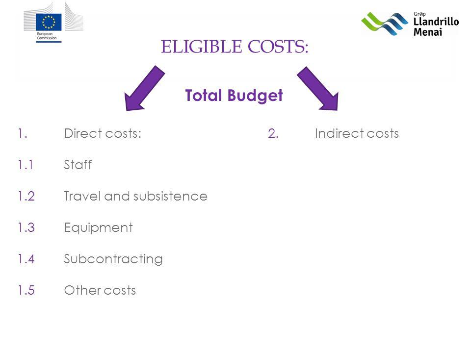 ELIGIBLE COSTS: 1.Direct costs: 1.1Staff 1.2Travel and subsistence 1.3Equipment 1.4Subcontracting 1.5Other costs 2.Indirect costs Total Budget