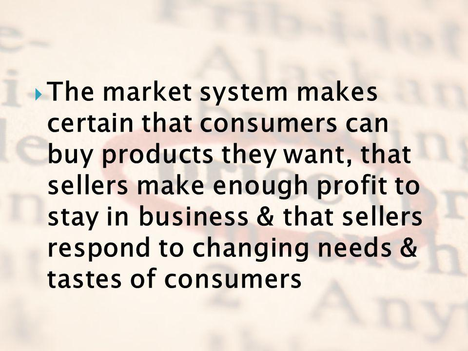 The market system makes certain that consumers can buy products they want, that sellers make enough profit to stay in business & that sellers respond