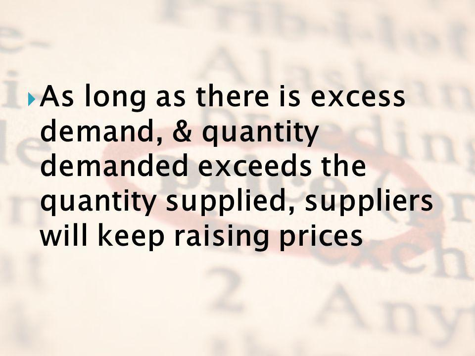 As long as there is excess demand, & quantity demanded exceeds the quantity supplied, suppliers will keep raising prices
