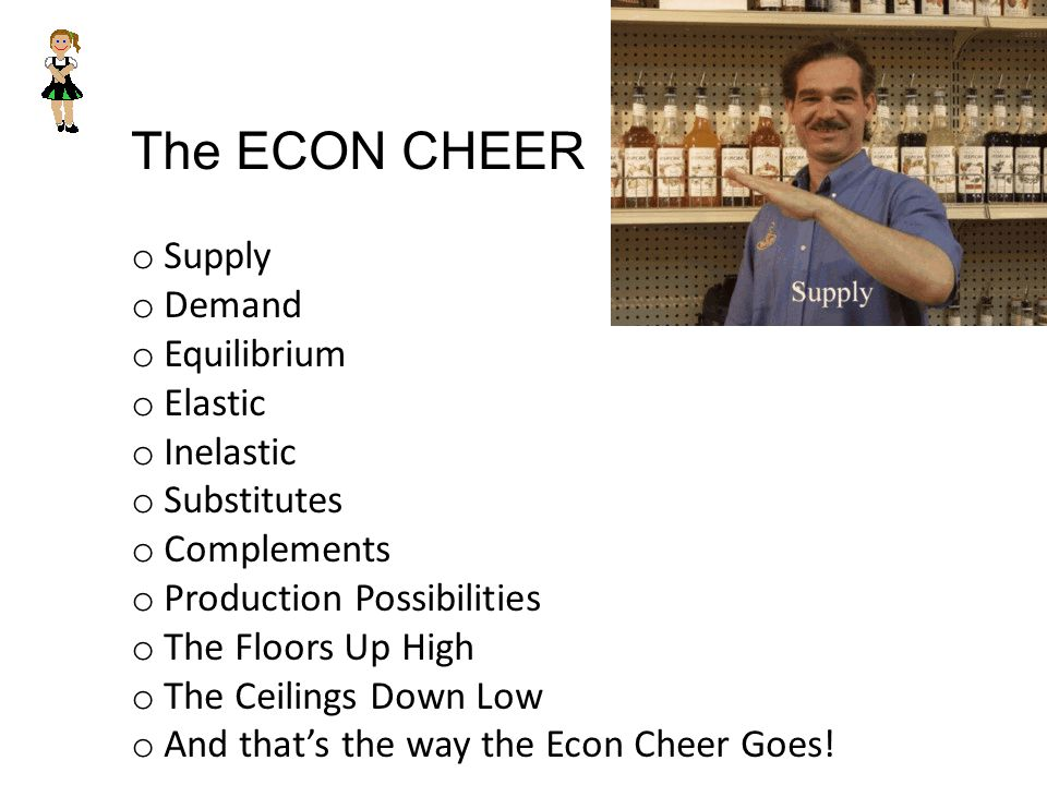 The ECON CHEER o Supply o Demand o Equilibrium o Elastic o Inelastic o Substitutes o Complements o Production Possibilities o The Floors Up High o The Ceilings Down Low o And thats the way the Econ Cheer Goes!