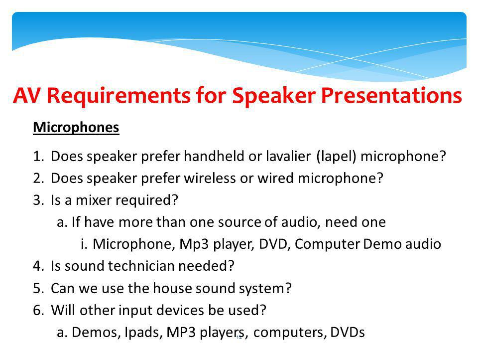 AV Requirements for Speaker Presentations Microphones 1.Does speaker prefer handheld or lavalier (lapel) microphone.