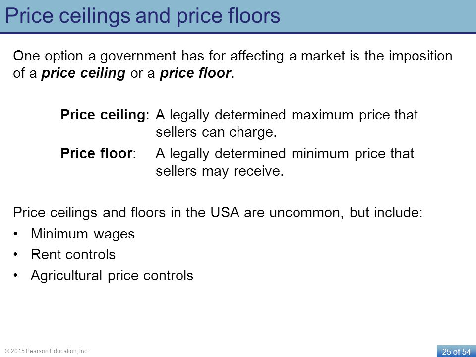 25 of 54 © 2015 Pearson Education, Inc. Price ceilings and price floors One option a government has for affecting a market is the imposition of a pric