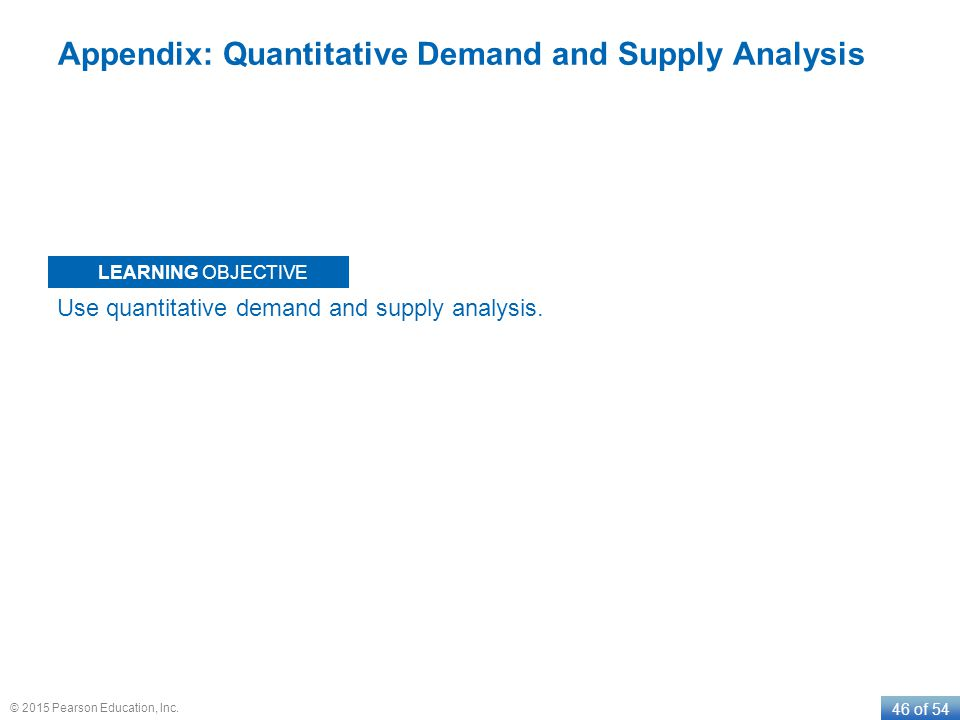 LEARNING OBJECTIVE 46 of 54 © 2015 Pearson Education, Inc. Appendix: Quantitative Demand and Supply Analysis Use quantitative demand and supply analys